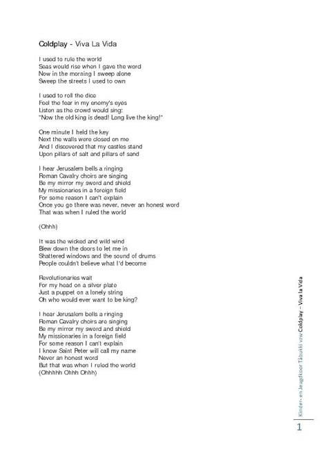 viva lyrics coldplay viva la vida songs lyrics
