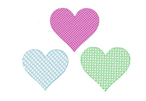 heart embroidery pattern free machine embroidery motif stitched heart three pack i