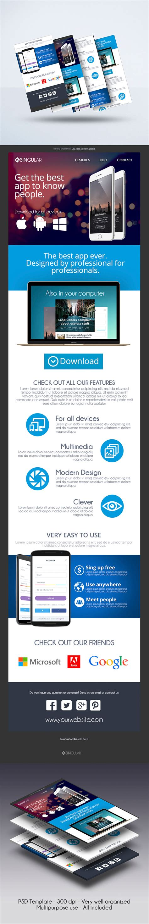 Multipurpose App Mobile Newsletter Template Graphicfy Mobile Newsletter Template
