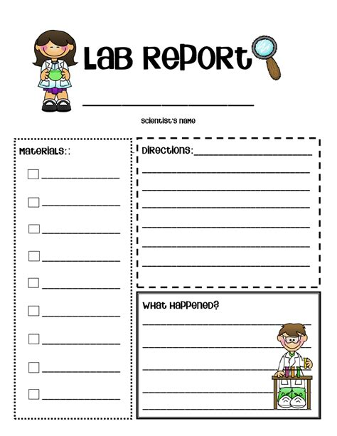 science report template ks2 grade o w l s scientist