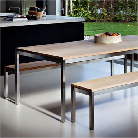 oak and steel dining table ethos oak basic table solid oak and stainless steel