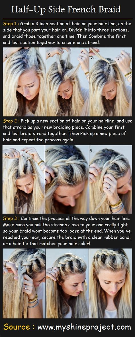 how to i french plait my own side hair half up side french braid pinterest tutorials