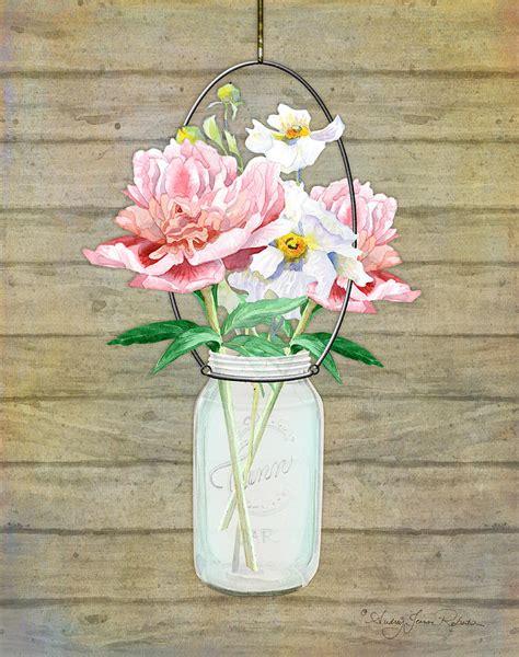 rustic country peony  poppy mason jar bouquet  wooden