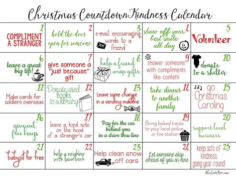 acts of kindness christmas countdown calendars free