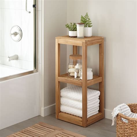 Bathroom Shelving For Towels Three Tier Teak Towel Shelf Bathroom
