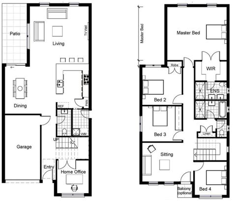 25 Best Ideas About Narrow House Plans On Pinterest Two Storey House Plans With Kitchen Upstairs