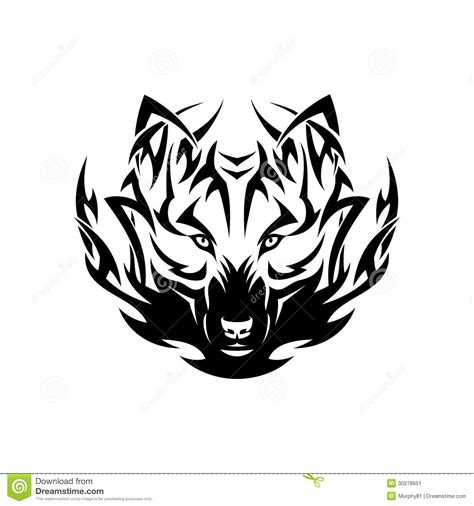 tatouage tribal de loup illustration de vecteur