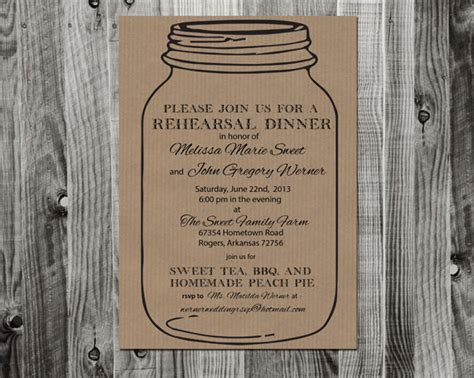 jar invitation template items similar to jar rehearsal dinner invitation