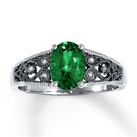 jared lab created emerald ring accents 10k white