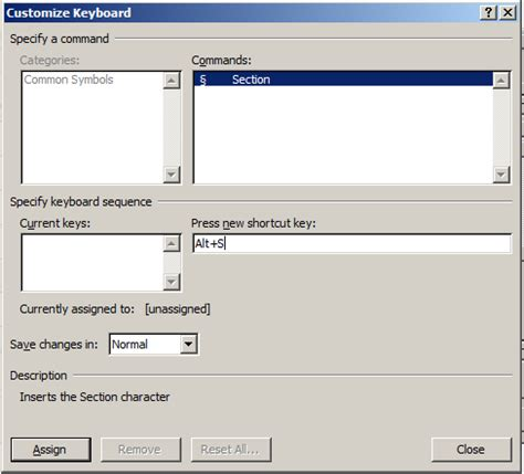 shortcut for section symbol in word buckeye legal tech assign a shortcut key to the section