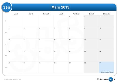 Calendrier 3 Mars Calendrier Mars 2013