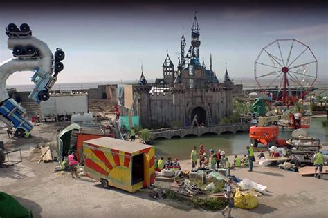 British street artist Banksy's morbid amusement park Dismaland opens in the UK, drips with