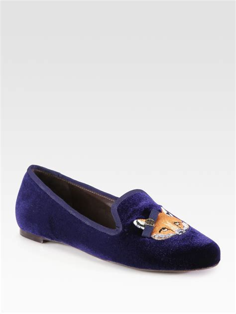 tory burch house shoes tory burch fox velvet smoking slippers in blue lyst
