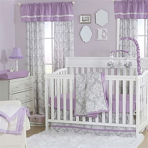 The Peanut Shell 174 Damask Crib Bedding Collection In Purple Purple And Grey Crib Bedding