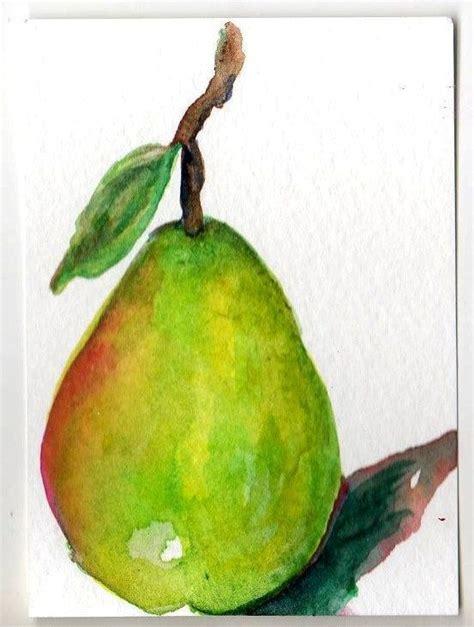 aceo original green pear painting card fruit watercolor