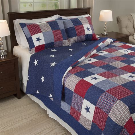 red white and blue comforter set king size americana bedding stars 3 pc quilt set red white