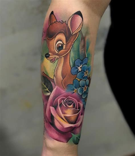 bambi amp flowers on s forearm best tattoo design ideas