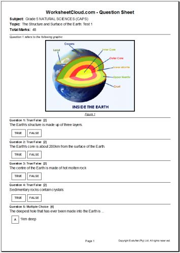Grade 5 Printable Worksheets by Click2learn