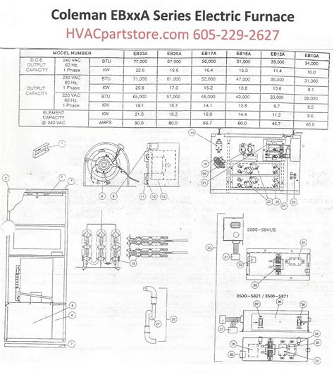 eb12a coleman electric furnace parts hvacpartstore