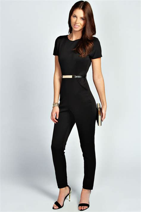 ebay jumpsuit boohoo womens ladies leigh capped sleeve belted scuba