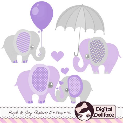 Purple Elephant Baby Shower Theme purple and grey baby shower elephants clipart digital