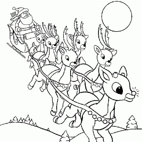 Santa And His Reindeer Coloring Pages color the sleigh of santa claus and his reindeer