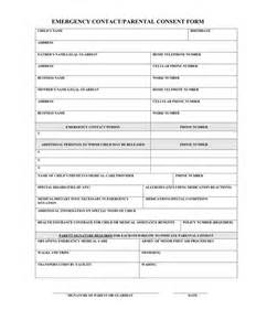 Parent Contact Form Template by Emergency Contact Parental Consent Form In Word And Pdf