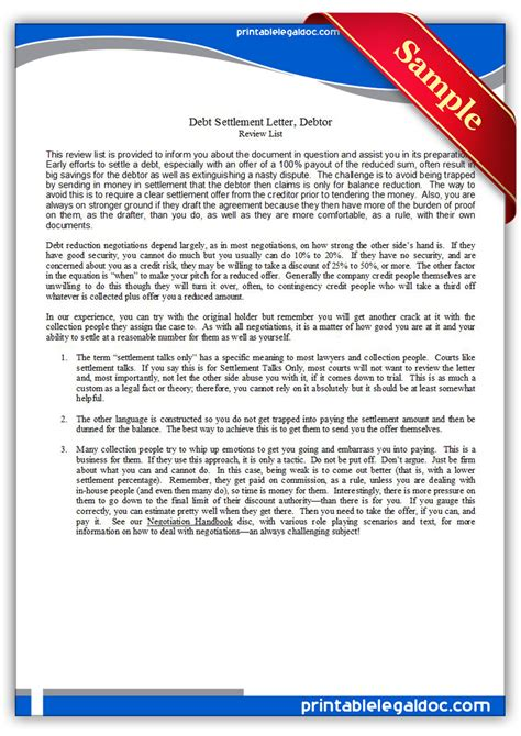 debtors letter template free printable debt settlement letter debtor form generic