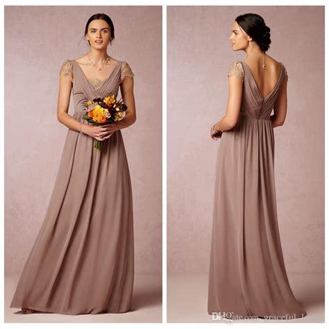 cheap dusty mauve chiffon bridesmaid dresses a line foor