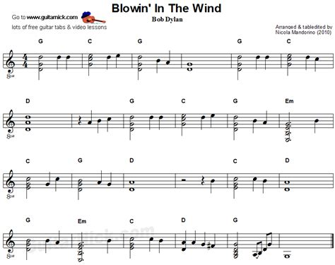testo blowing in the wind blowin in the wind flatpicking guitar sheet