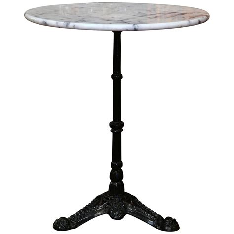 Metal Bistro Table Early 20th Century Iron Pedestal Bistro Table From With Marble Top At 1stdibs