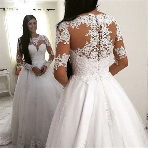 white wedding gowns with sleeves princess sleeve lace gown wedding dresses