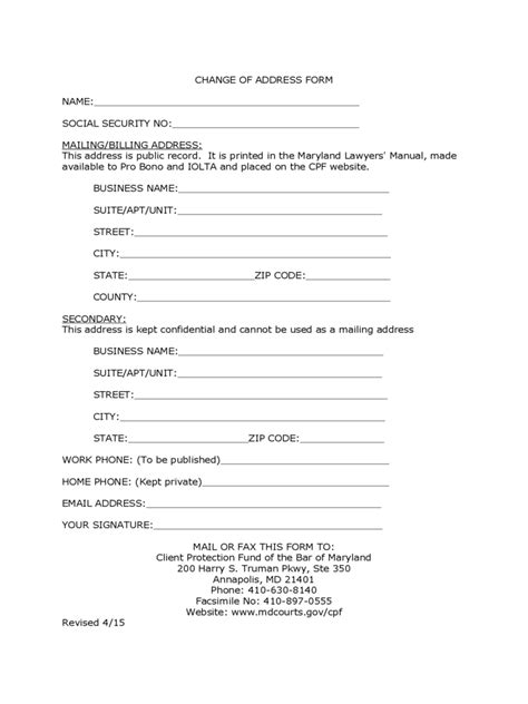 social security change  address form   templates