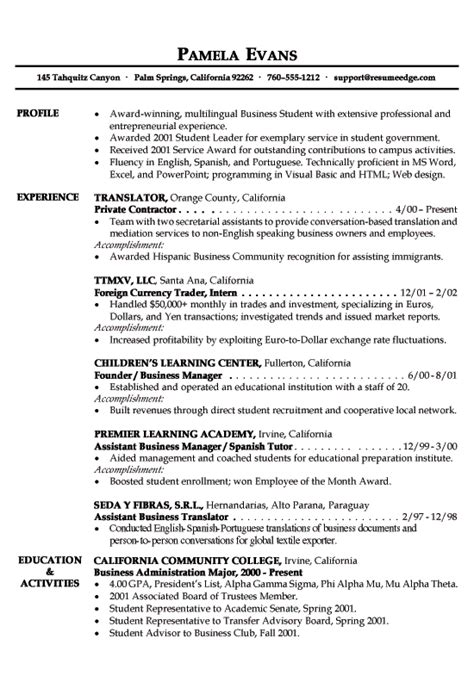 exle of a resume for students international business cv international business student