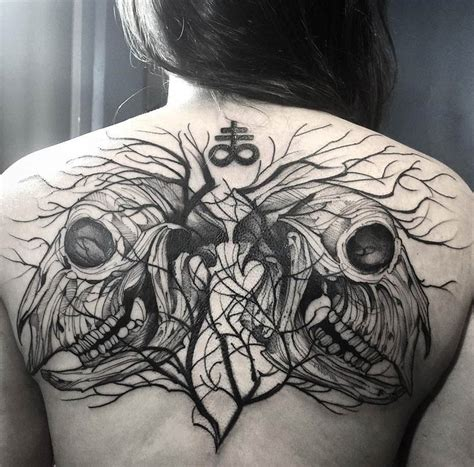 leviathan cross tattoo crux satanus goat skulls tree back best