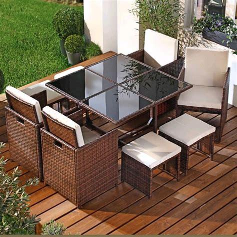 comedor exterior  jardin patio tejido rattan  piezas