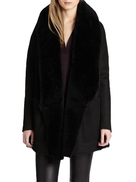 shearling drape coat vince draped shearling leather coat in black lyst