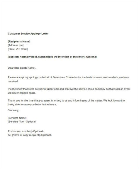Customer Service Letter Template Exle Of Apology Letter For Poor Customer Service Cover Letter Templates