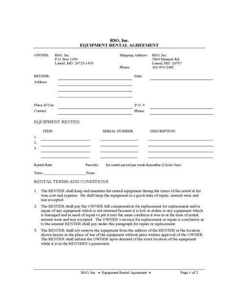 equipment rental and lease sle form free download