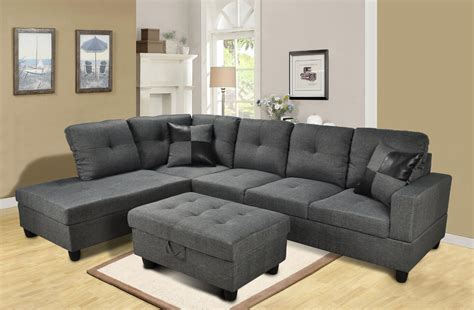 Two Sided Sofa by F108 Gray Microfiber Sectional Set With Storage Ottoman