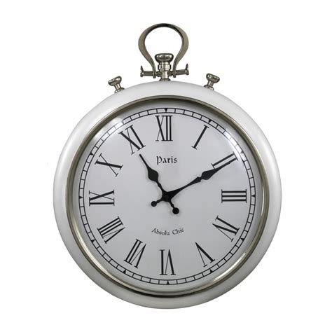 Rustic Accessories Home Decor paris fob style wall clock in white
