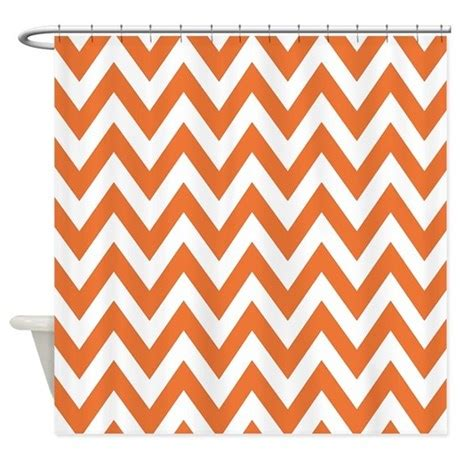 orange and white chevron curtains orange chevron shower curtain by chevroncitystripes