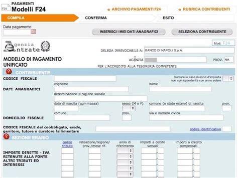 Pagare F24 In Banca by Pagare F24 Predeterminato Le Istruzioni Di Pagamento