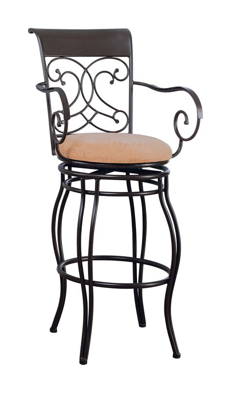 Metal And Fabric Bar Stools by Coaster 120019 Swivel Metal And Beige Fabric Bar Stool