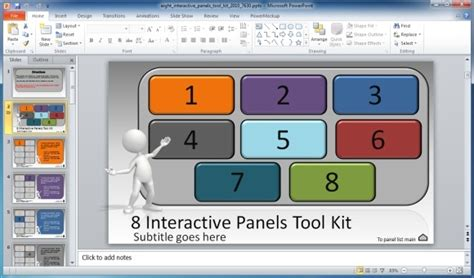 Interactive Powerpoint Templates create interactive presentations with 8 interactive panels