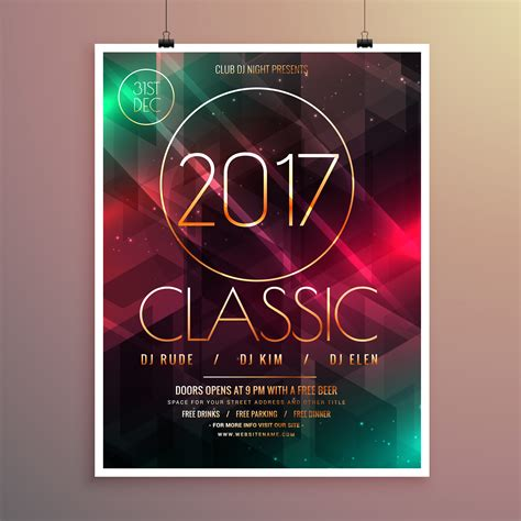 2017 New Year Party Event Flyer Template With Colorful Lights Ba Download Free Vector Art Lights Flyer Template