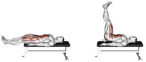 flat bench lying leg raise exercise database abs jase stuart mens health mentor
