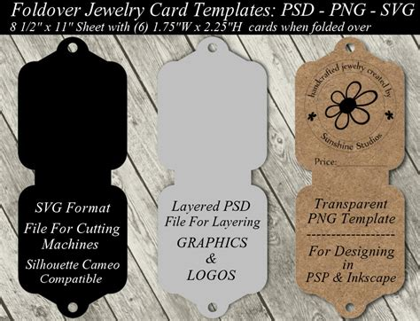 jewelry card template available in svg cutting file layered