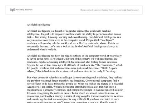 Artificial Intelligence Essay by Artificial Intelligence Essay Free