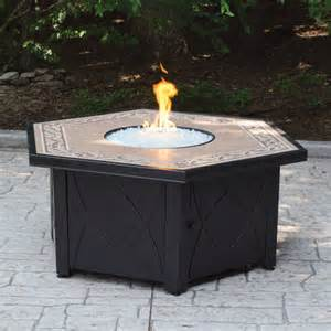 Walmart Firepit Hex Lp Gas Pit Bowl With Decorative Ceramic Tile Mantel Walmart